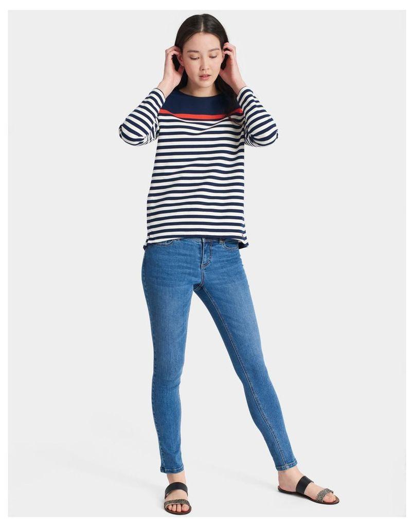 French Navy Stripe Clemence Printed Crew Neck Sweatshirt  Size 12   Joules UK