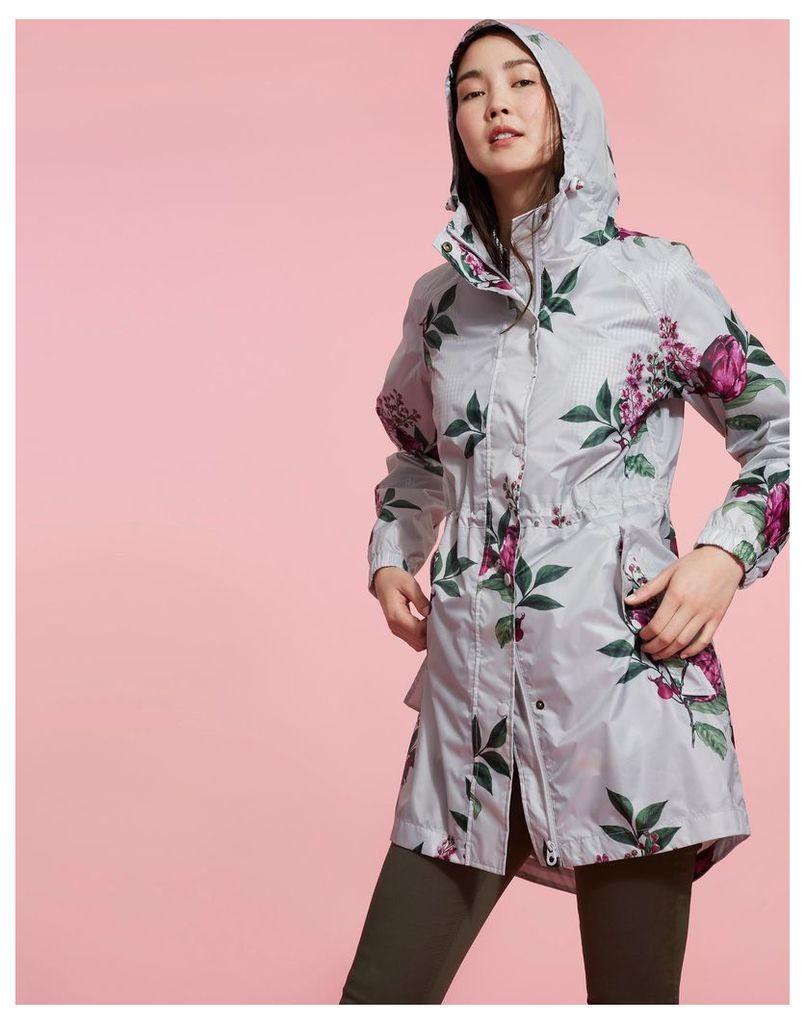 Silver Artichoke Floral Golightly Packaway Waterproof Jacket  Size 18   Joules UK