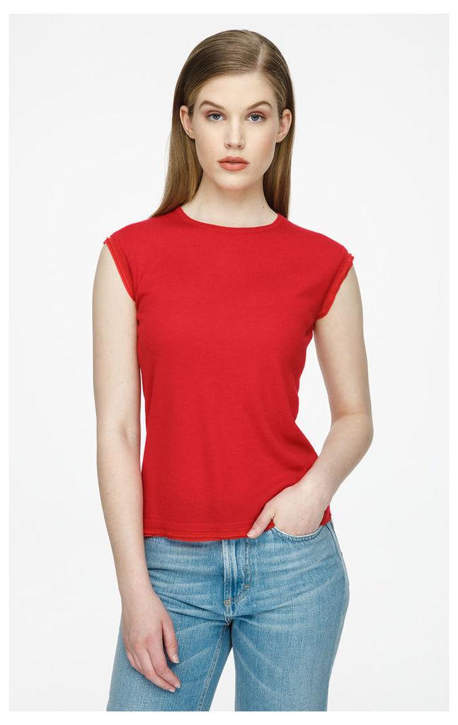 Silk-Trimmed Cashmere Top