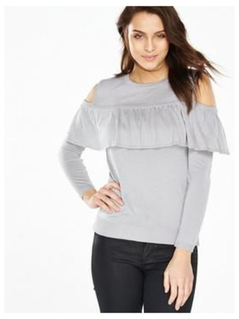 V By Very Cold Shoulder Ruffle Front Jumper