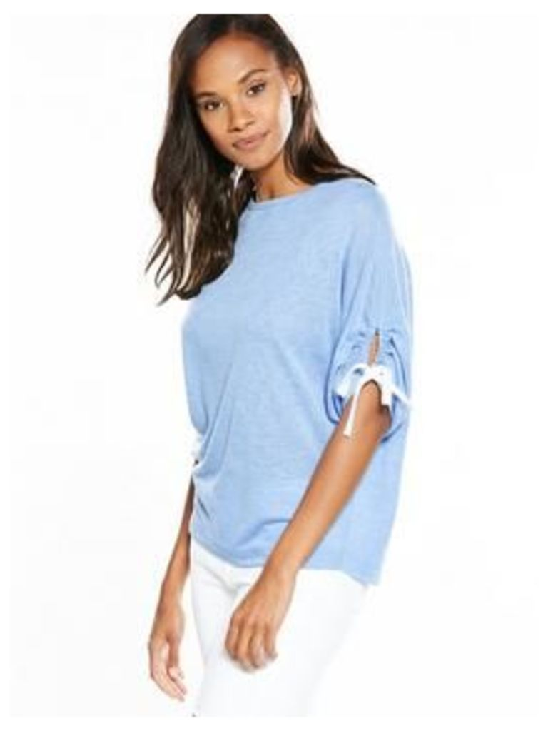 V By Very Tie Ruched Sleeve Snit Top