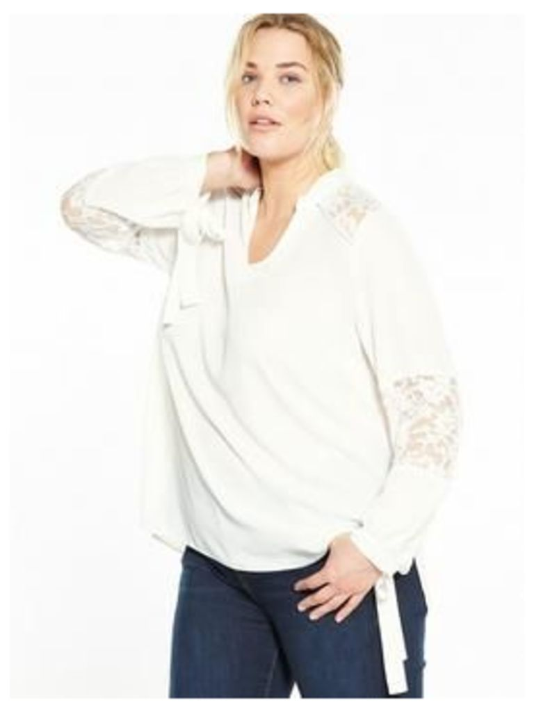 V By Very Curve Lace Tie Sleeve Blouse - Ivory