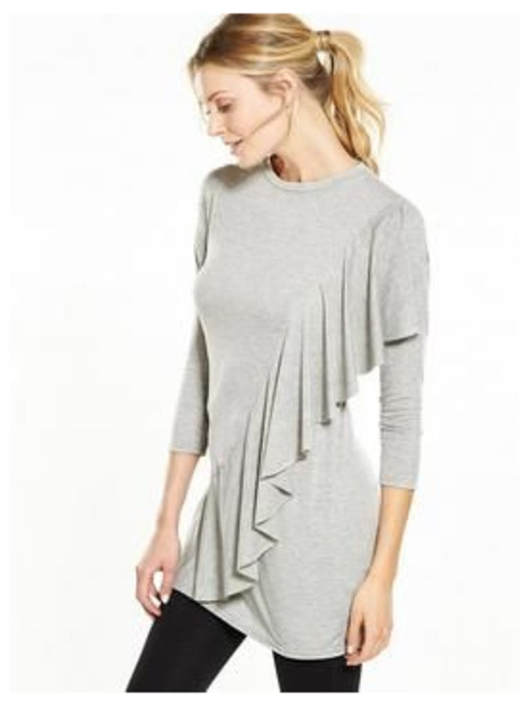 V By Very Asymmetric Frill Jersey Tunic Top