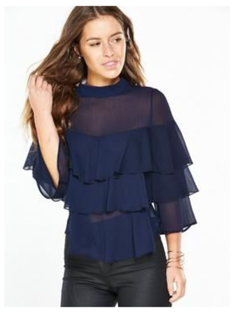 V By Very Petite Petite Ruffle Layered Top - Navy