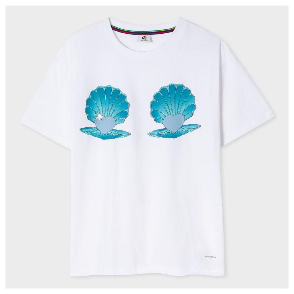 Women's White 'Shells' Print Cotton T-Shirt