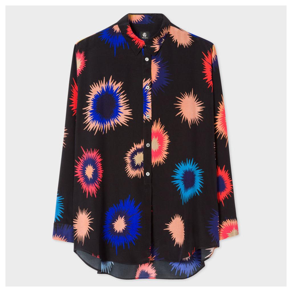 Women's Oversized Black 'Supanova' Print Silk Shirt