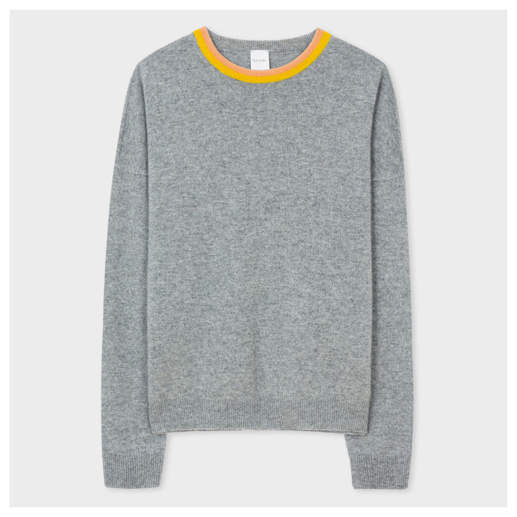 Women's Grey Cashmere Sweater With Contrast Collar