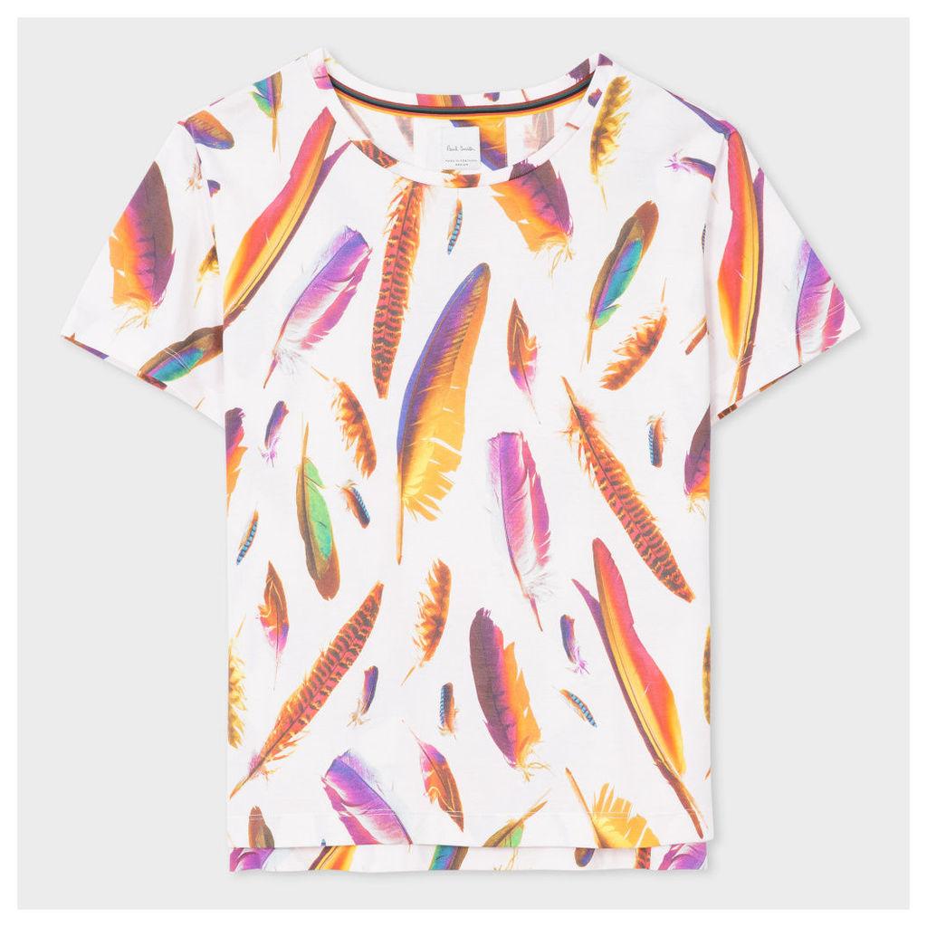 Women's White 'Feather' Print Cotton T-Shirt