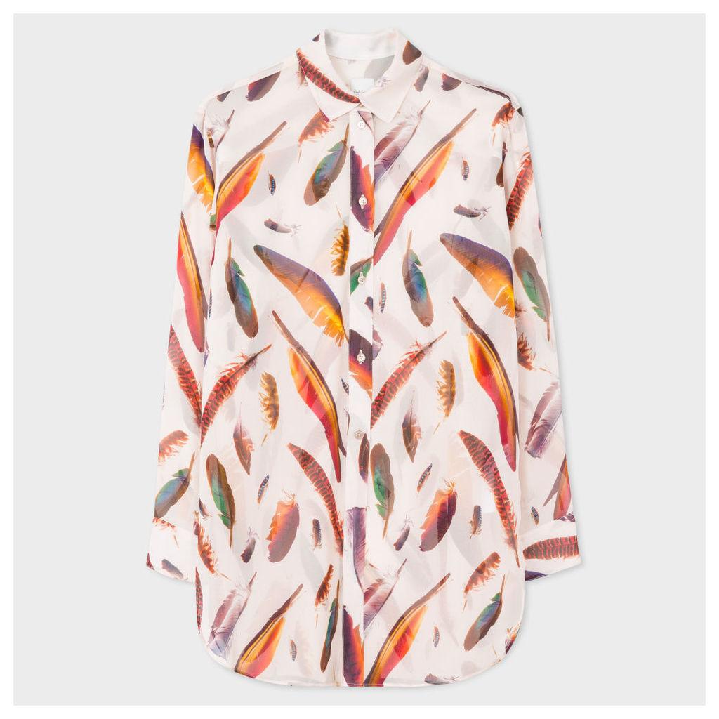 Women's Oversized Light Pink Silk Shirt With 'Feather' Print