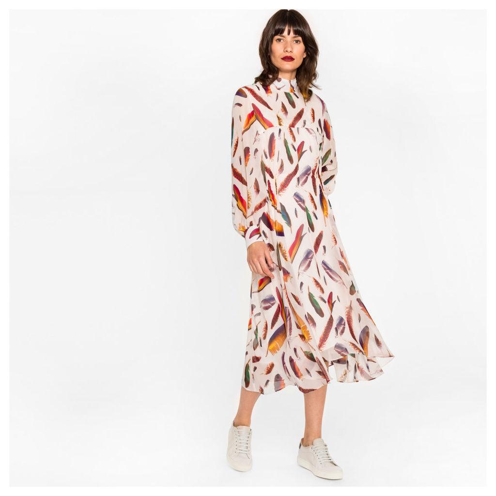 Women's Light Pink Silk Midi Dress With 'Feather' Print