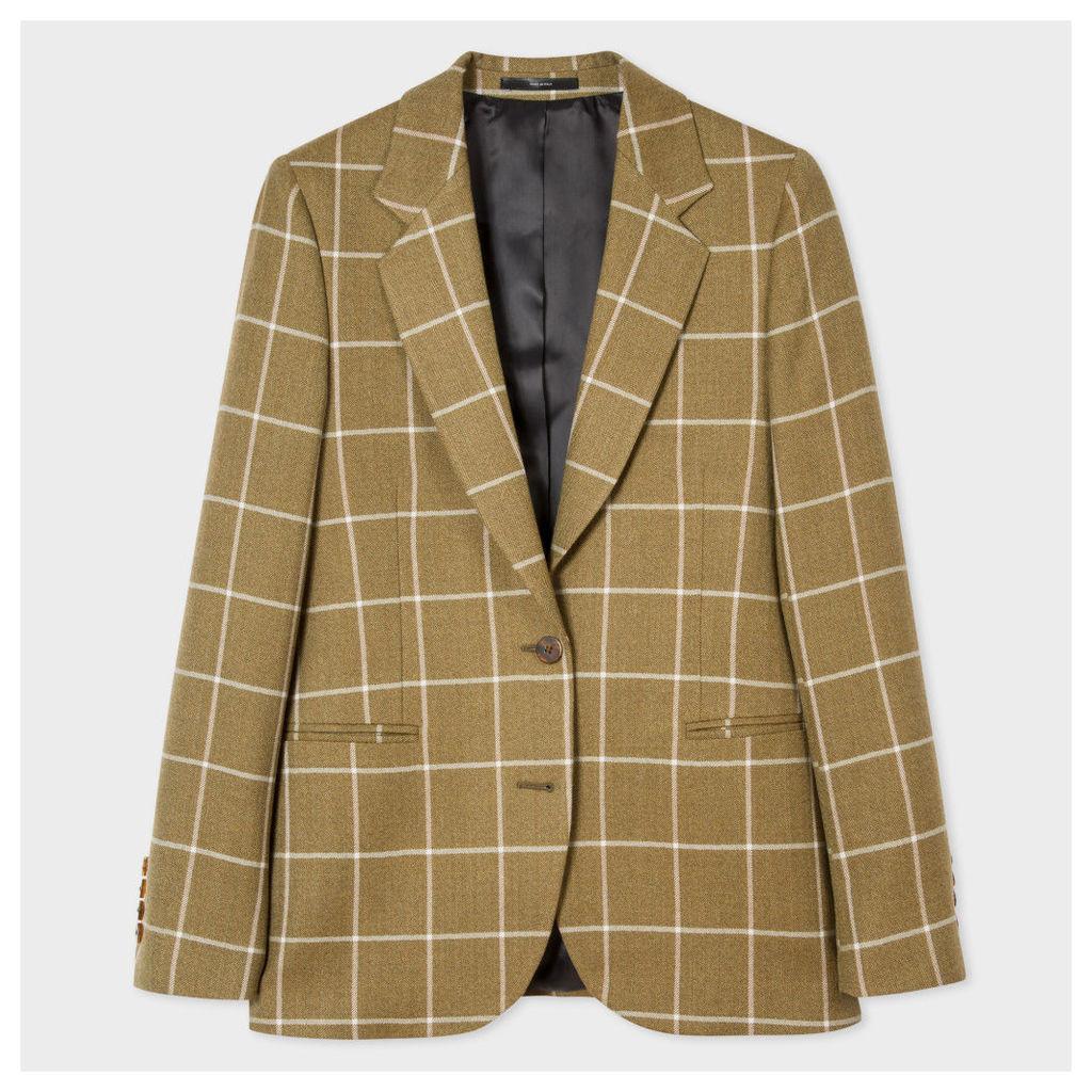 Women's Khaki Windowpane-Check British Wool Blazer