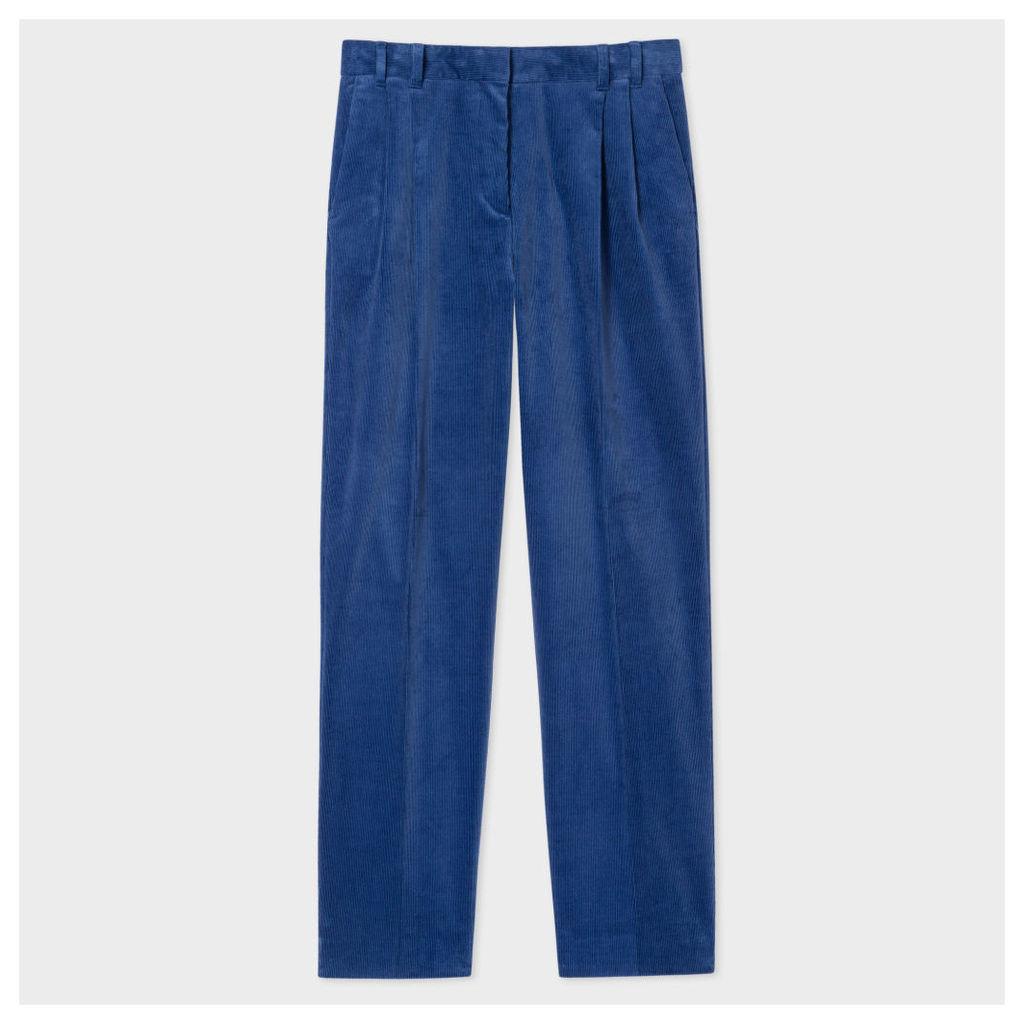 Women's Regular-Fit Blue Corduroy Pleated Trousers