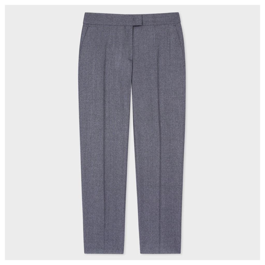 Women's Slim-Fit Mottled Grey Wool-Flannel Trousers