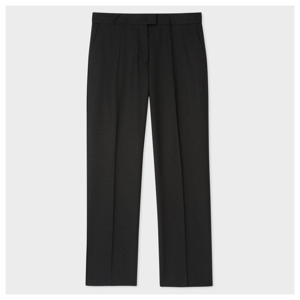 Women's Slim-Fit Black Wool-Hopsack Trousers