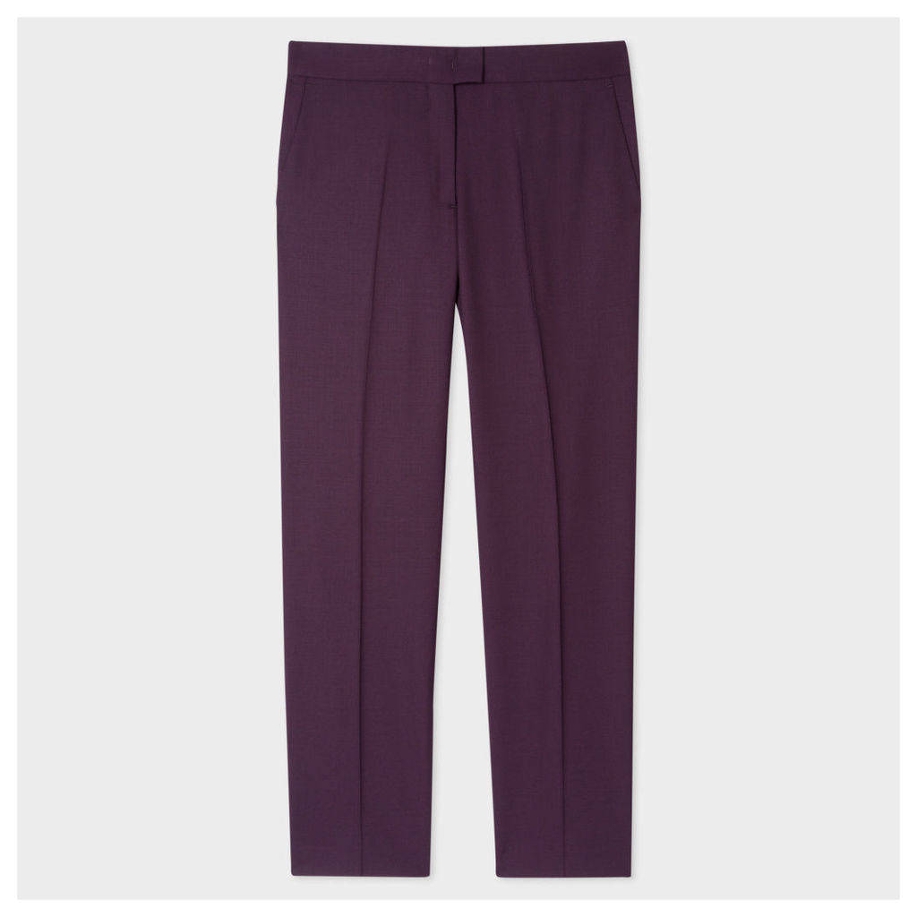 Women's Slim-Fit Damson Wool-Hopsack Trousers