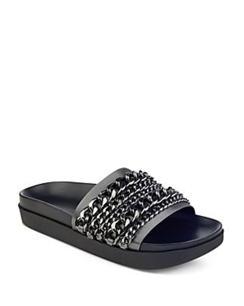 Kendall and Kylie Shiloh Satin Chain Pool Slide Sandals