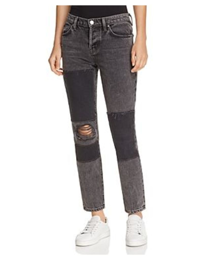 Iro. jeans Lep Patched Straight-Leg Jeans in Black