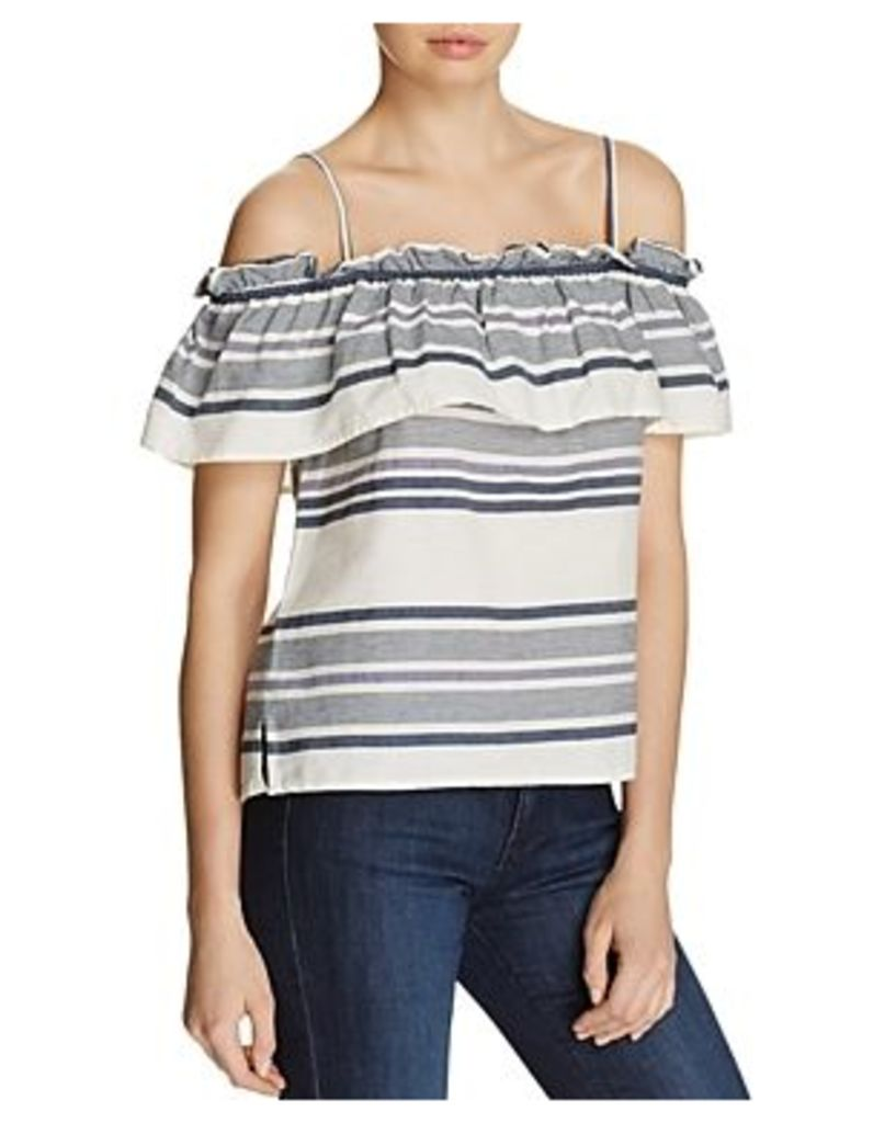 Splendid Striped Cold Shoulder Flounce Top