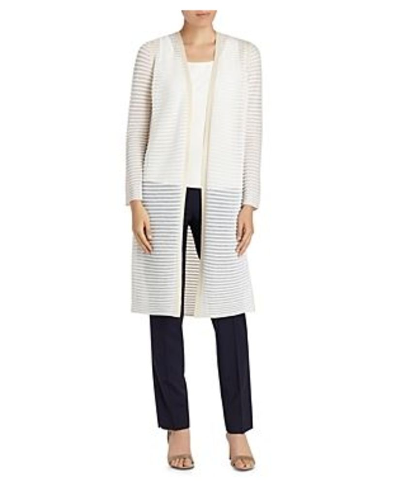 Lafayette 148 New York Sheer Stripe Long Cardigan