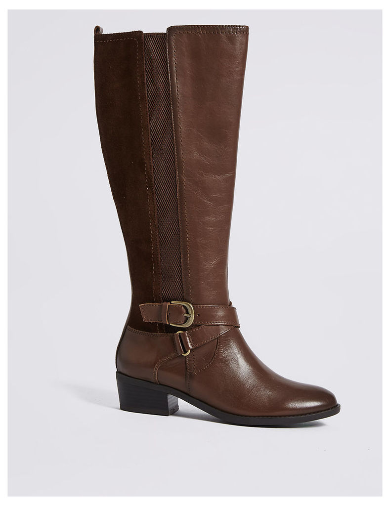 M&S Collection Leather Block Heel Strap Knee High Boots