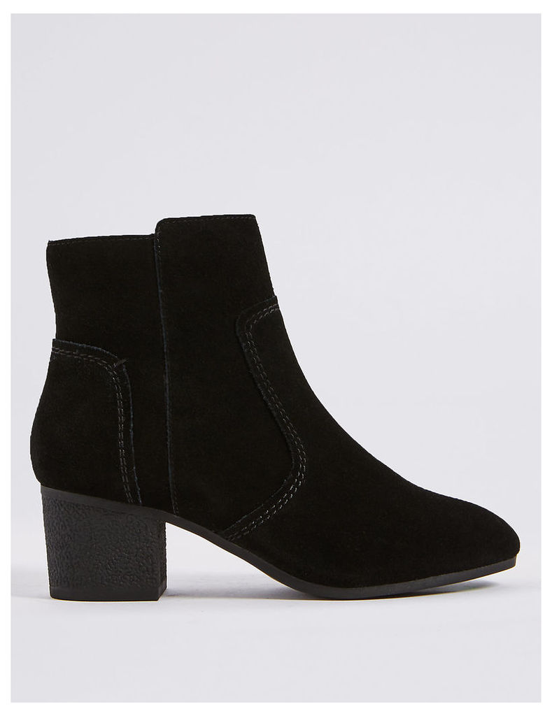 Footglove Leather Block Heel Crepe Effect Ankle Boots