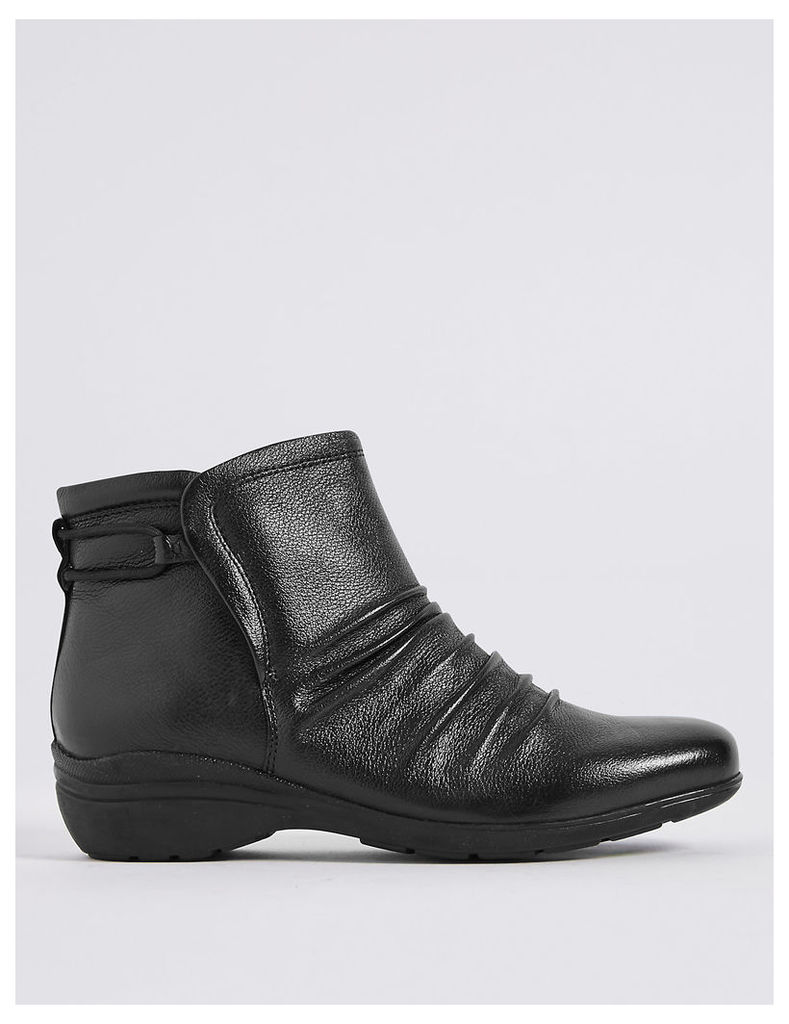 Footglove Leather Elastic Ruched Ankle Boots