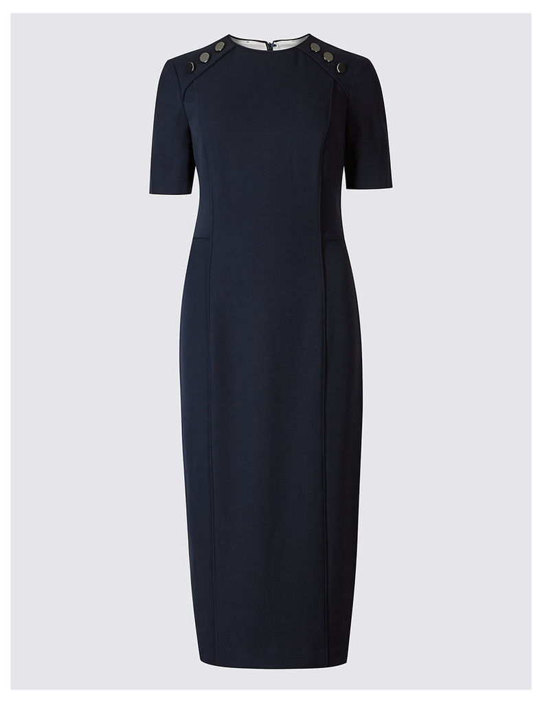 M&S Collection Button Shoulder Piped Shift Midi Dress