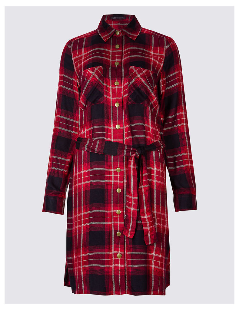 M&S Collection Checked Long Sleeve Shirt Dress