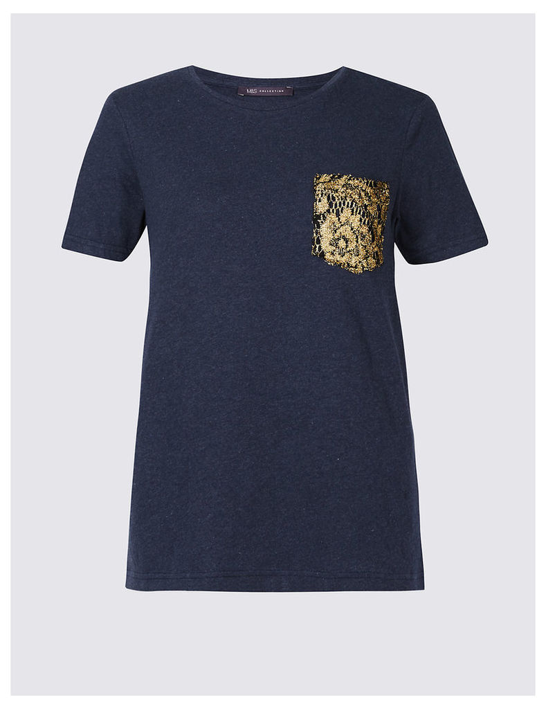 M&S Collection Pure Cotton Lace Pocket Short Sleeve T-Shirt
