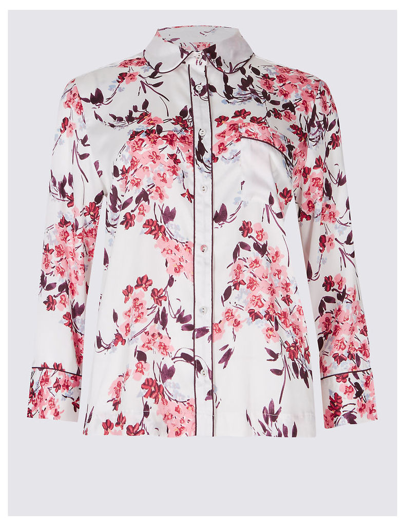 M&S Collection Floral Print 3/4 Sleeve Shirt