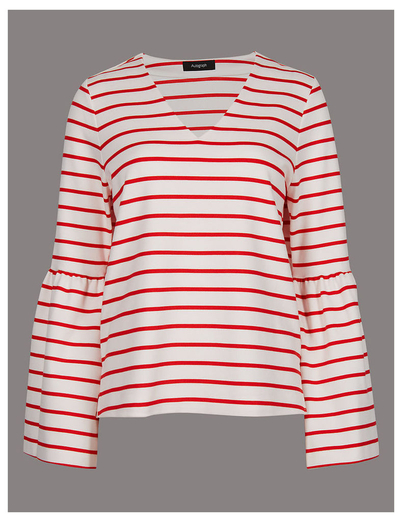 Autograph Striped V-Neck Long Sleeve T-Shirt
