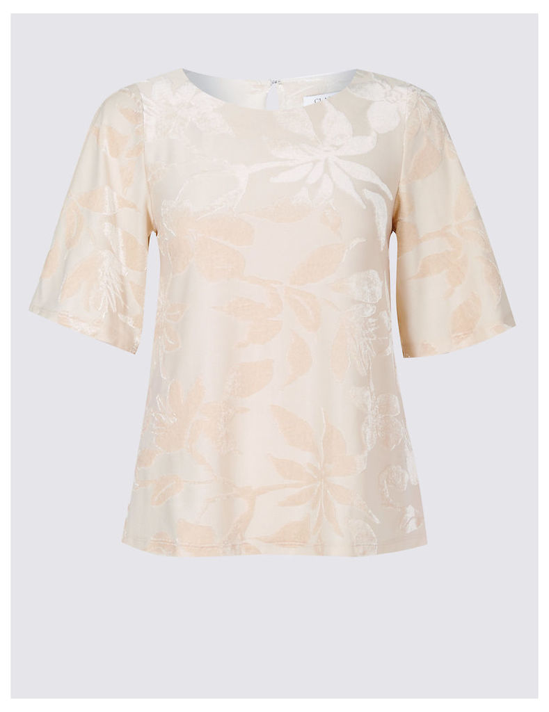 Classic Floral Jacquard Half Sleeve Shell Top