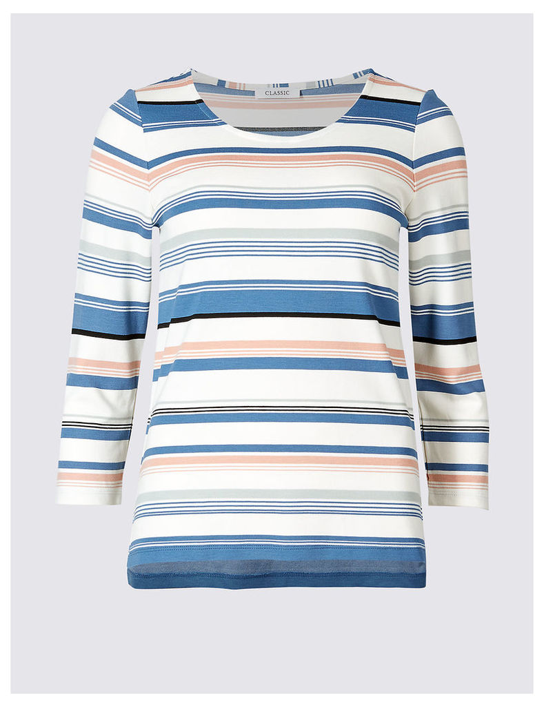 Classic Striped Round Neck 3/4 Sleeve T-Shirt