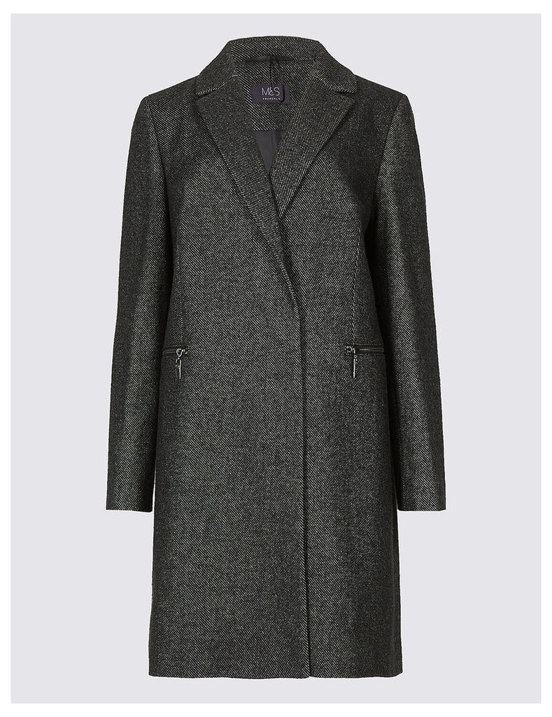 M&S Collection 2 Pocket Textured Coat