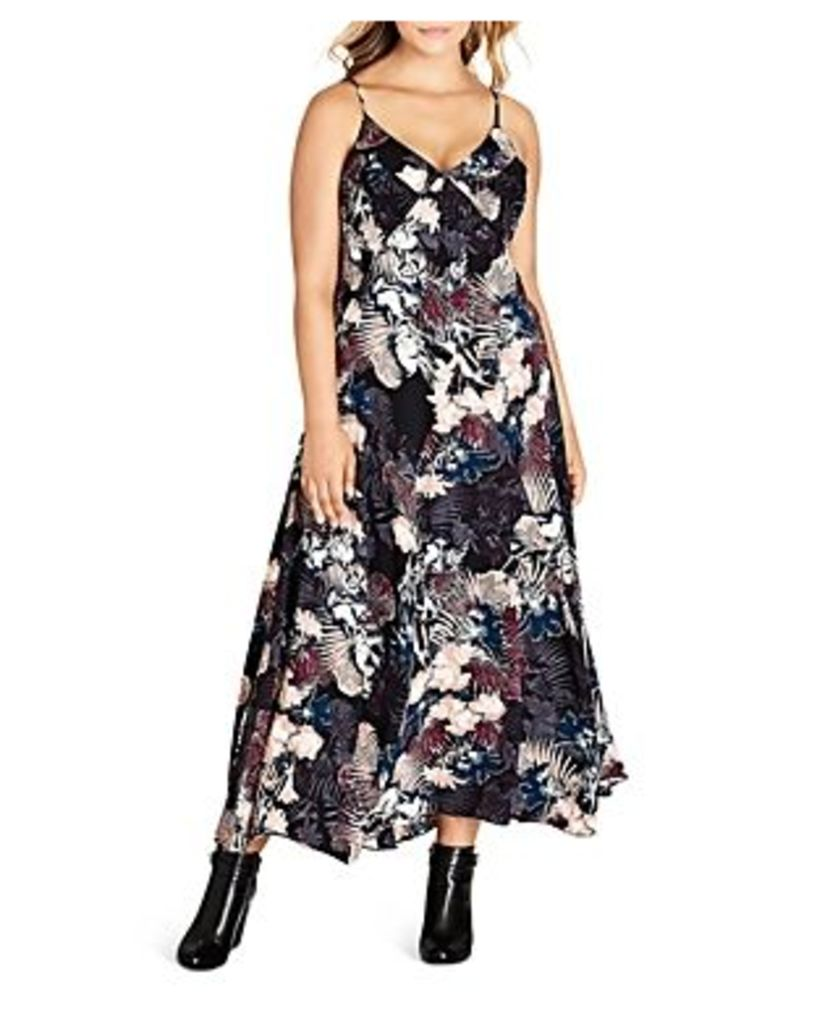 City Chic Floral Print Smocked Side Maxi Dress