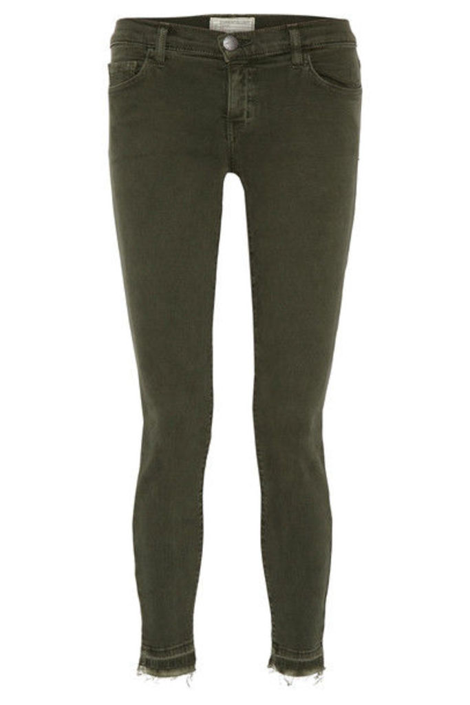 Current/Elliott - The Stiletto Frayed Mid-rise Skinny Jeans - Forest green