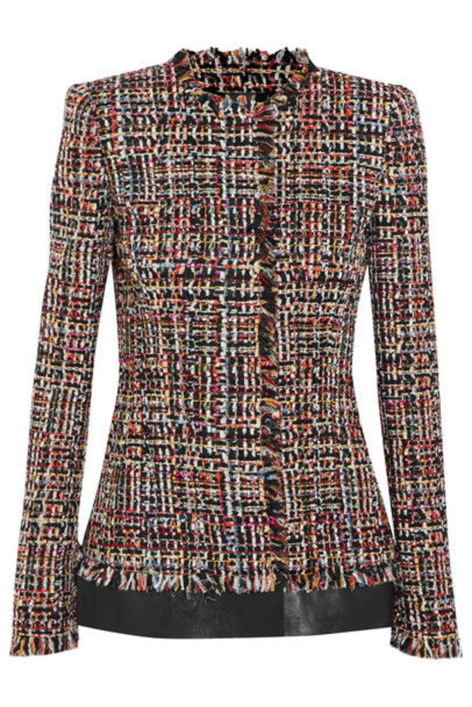 Alexander McQueen - Leather-trimmed Fringed Tweed Jacket - Red