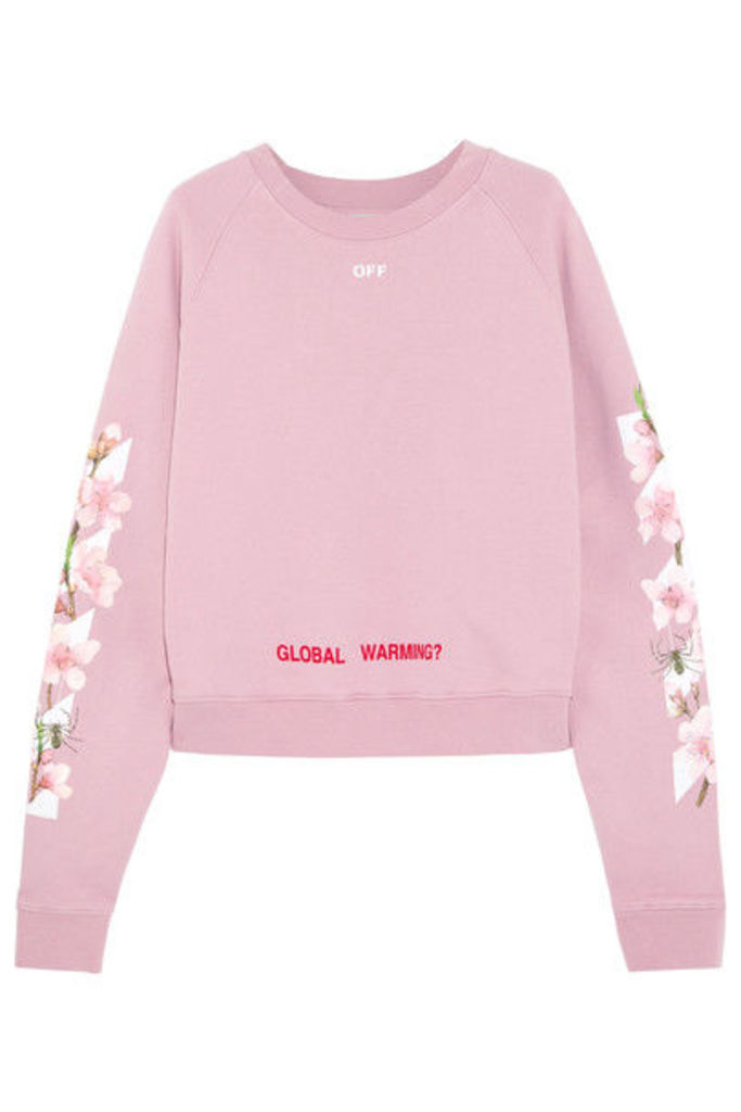 Off-White - Printed Cotton-jersey Sweatshirt - Baby pink