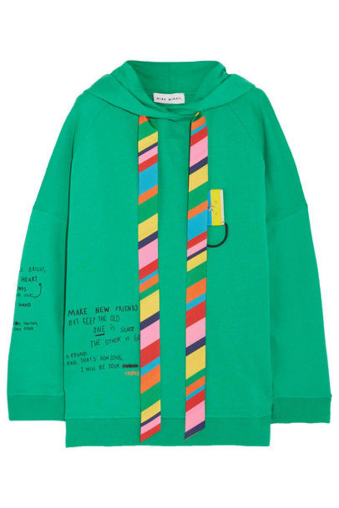 Mira Mikati - Oversized Printed Cotton-jersey Hooded Top - Bright green