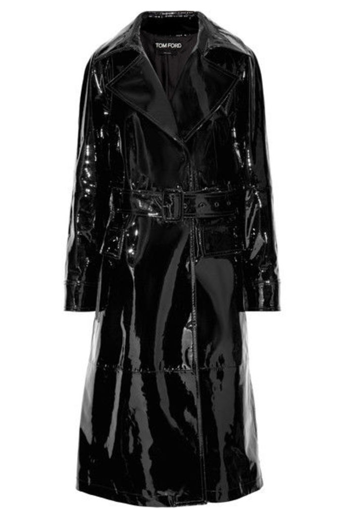 TOM FORD - Patent-leather Trench Coat - Black