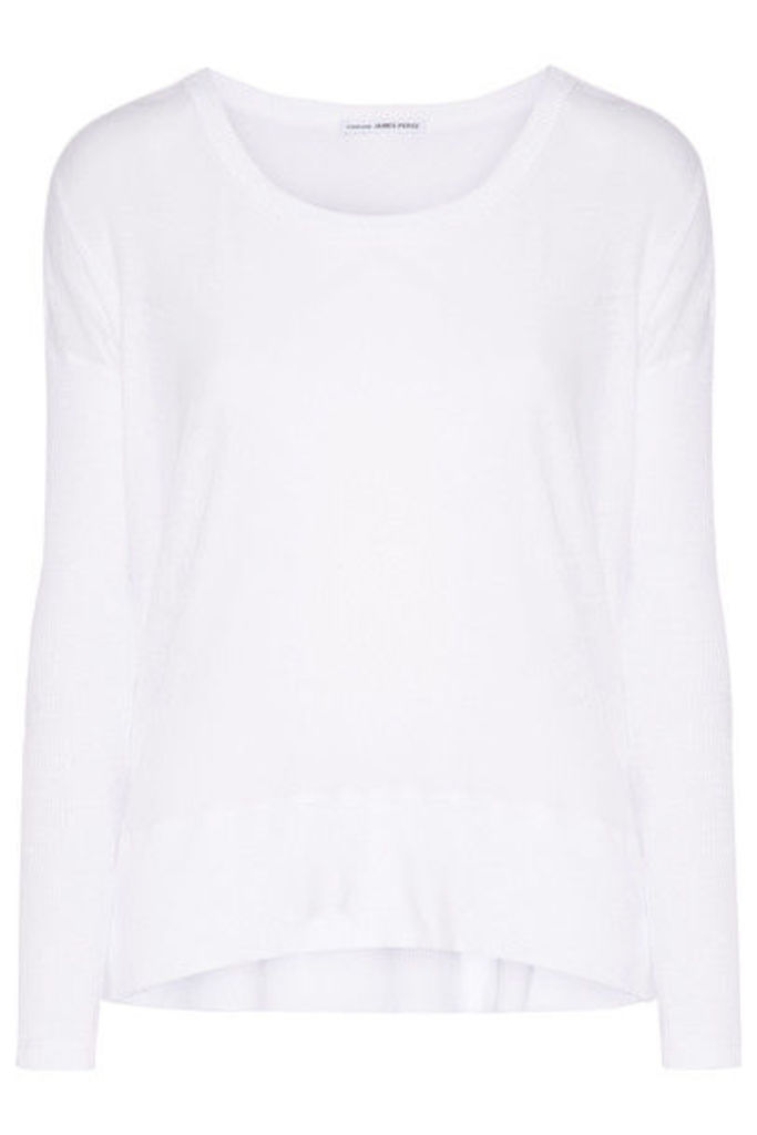 James Perse - Ribbed-paneled Cotton-jersey Top - White