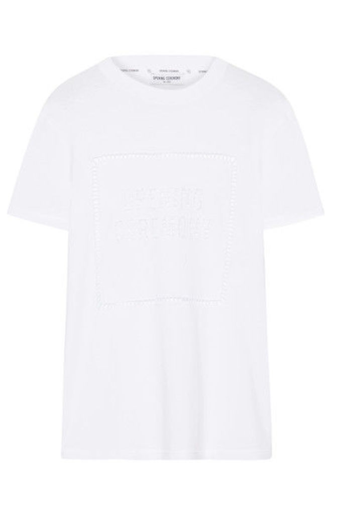 Opening Ceremony - Pointelle-trimmed Cotton-jersey T-shirt - White