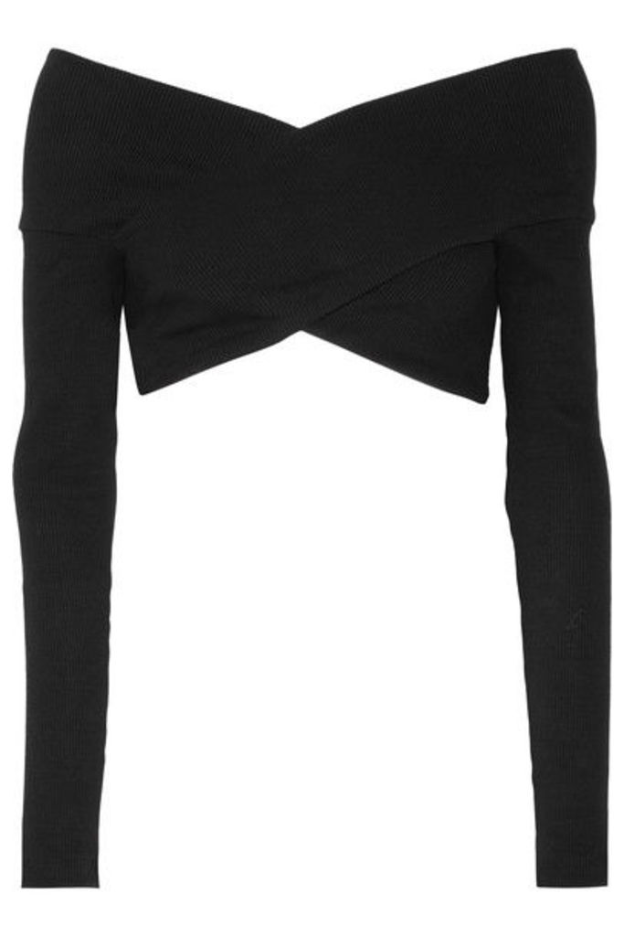 Opening Ceremony - Cropped Off-the-shoulder Ribbed Cotton-blend Top - Black