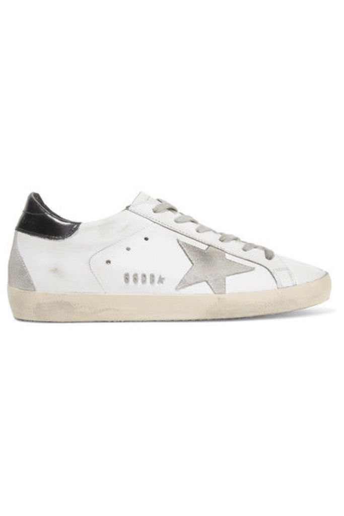 Golden Goose Deluxe Brand - Super Star Distressed Suede-paneled Leather Sneakers - White