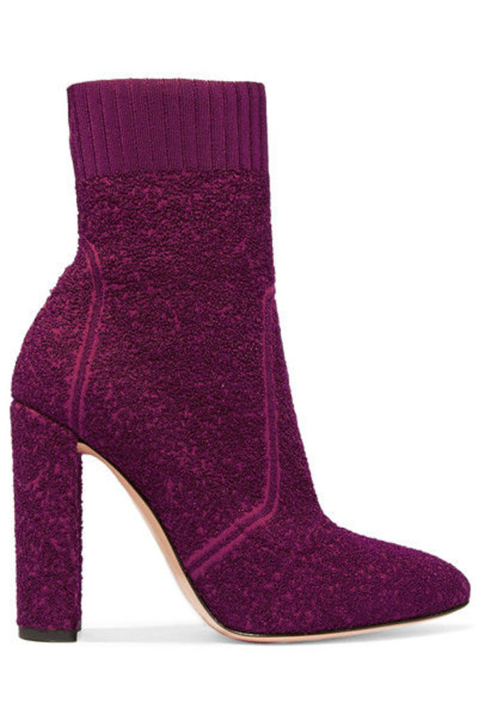 Gianvito Rossi - Isa Bouclé-knit Ankle Boots - Plum