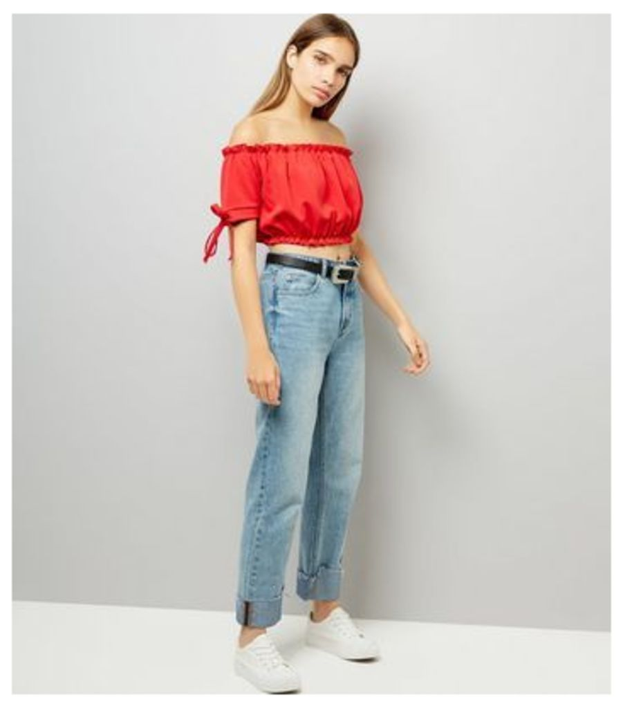 Cameo Rose Red Frill Trim Bardot Neck Crop Top New Look