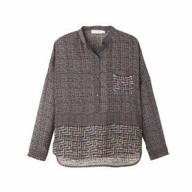 Mix Print Shirt Style Blouse