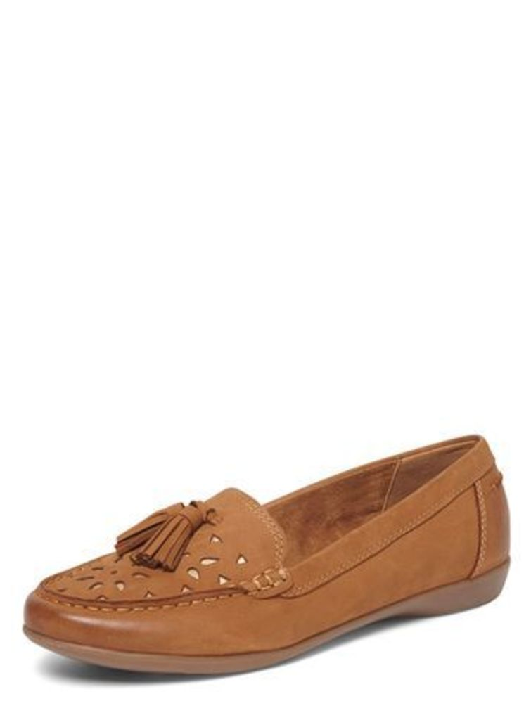 Brown Comfort Leather Moccasins, Brown