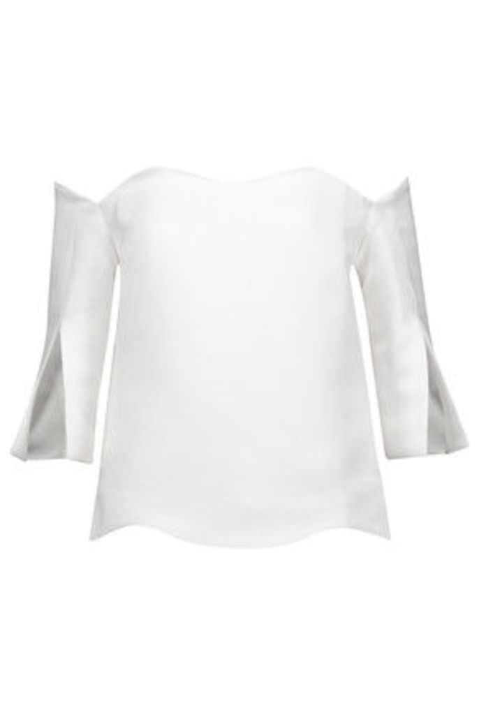 Paper London - Florida Off-the-shoulder Faille Top - White