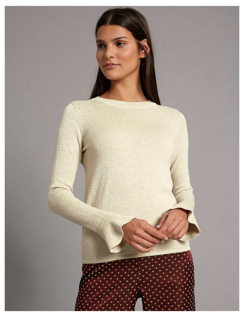 Autograph Ribbed Tie Front Round Neck Jumper